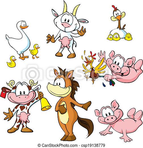farm animals - funny cartoon - csp19138779