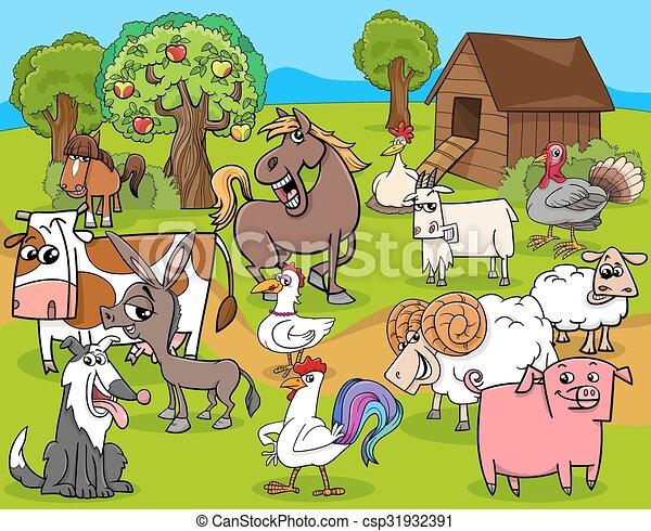 farm animals group cartoon - csp31932391