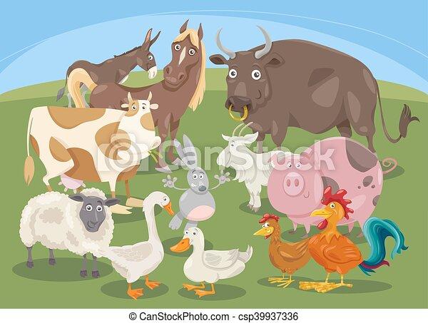 farm animals group cartoon - csp39937336