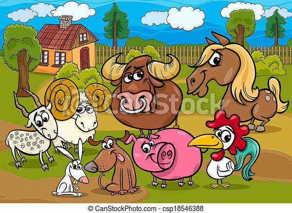 farm animals group cartoon illustration - csp18546388