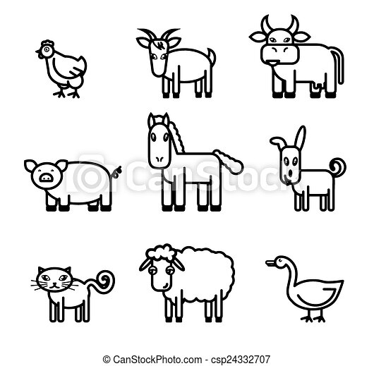 Farm Animals Icons Farm Animals Set Of Black Vector Icons On A