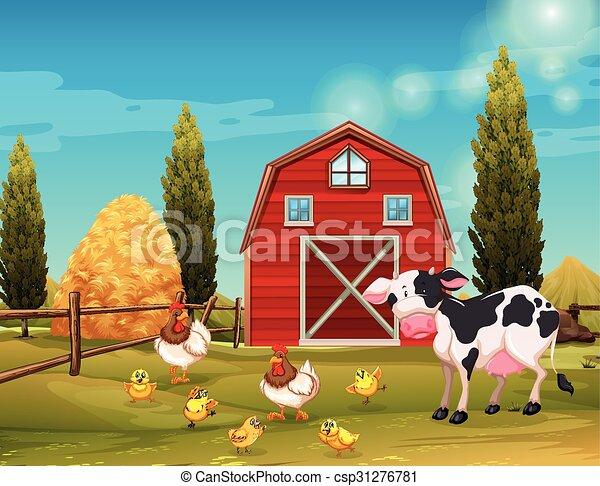 Farm animals living in the farm - csp31276781