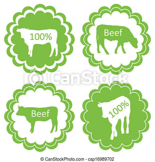 Farm animals market ecology organic beef meat label vector background concept - csp16989702