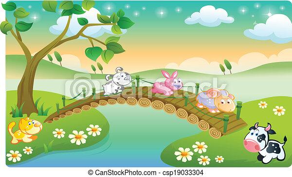 farm animals playing - csp19033304
