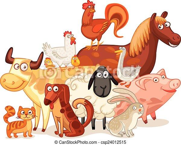 Farm Animals, posing together - csp24012515