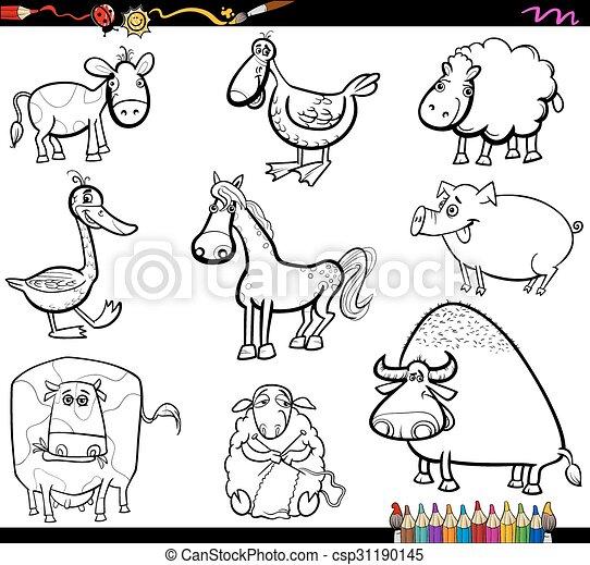 farm animals set coloring book - csp31190145