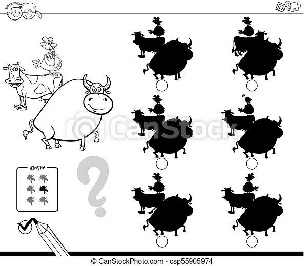 farm animals shadows game coloring book - csp55905974