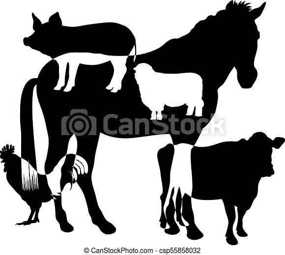 Farm Animals Silhouette