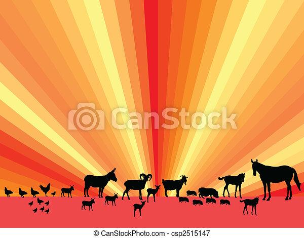 farm animals silhouette - csp2515147
