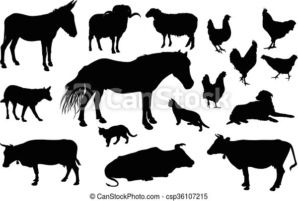 Farm Animals Silhouette Various Farm Domestic Animals Silhouettes On White Background Canstock