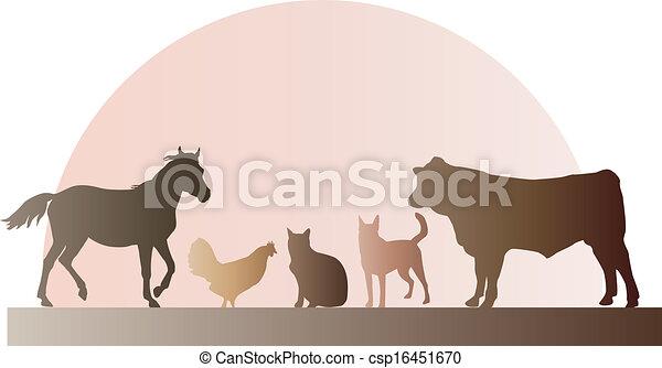 Farm Animals Silhouettes Horse Cow Bull Chicken Cat