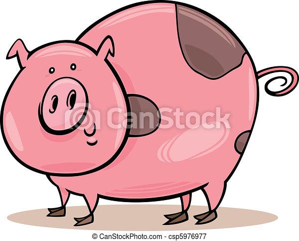 Farm animals: spotted pig - csp5976977