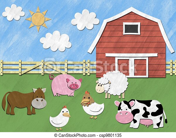 farm animals stand in front of barnyard on sunny day rh canstockphoto com barnyard roundup clipart barnyard roundup clipart