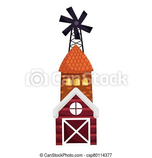 farm animals windmill house barn cartoon design - csp80114377