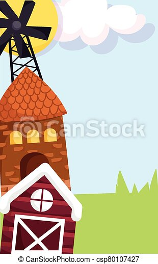 farm animals windmill house barn grass cartoon design - csp80107427