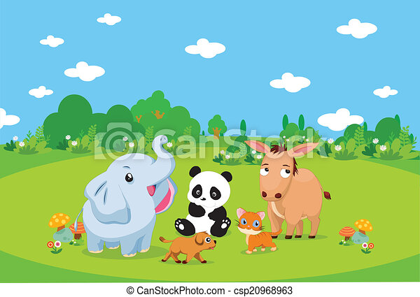 Farm animals with background - csp20968963