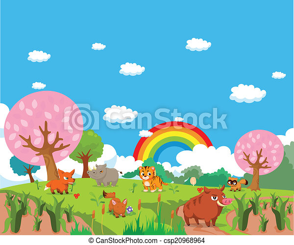 Farm animals with background - csp20968964
