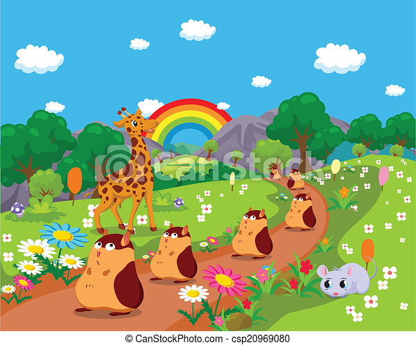 Farm animals with background - csp20969080
