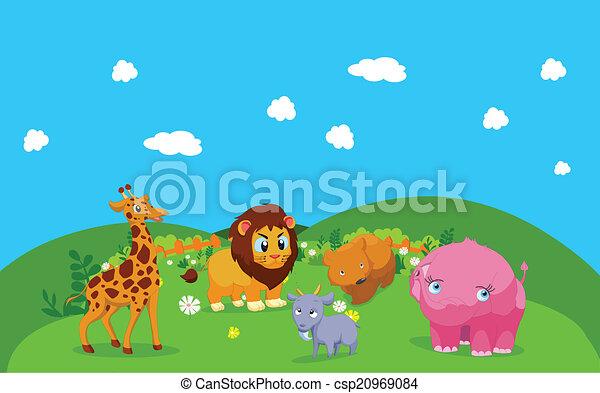 Farm animals with background - csp20969084