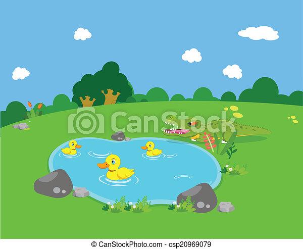 Farm animals with ducks and alligat - csp20969079