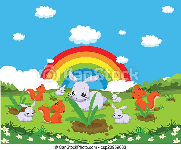 Farm animals with rabbits - csp20969083