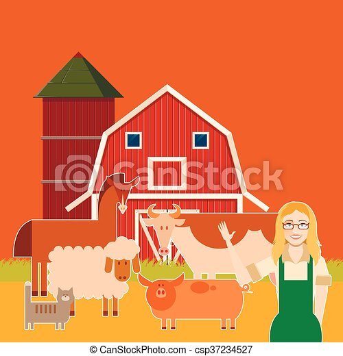 Farm banner with flat animals - csp37234527