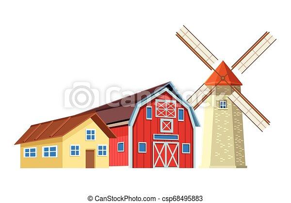 farm barn and windmill - csp68495883