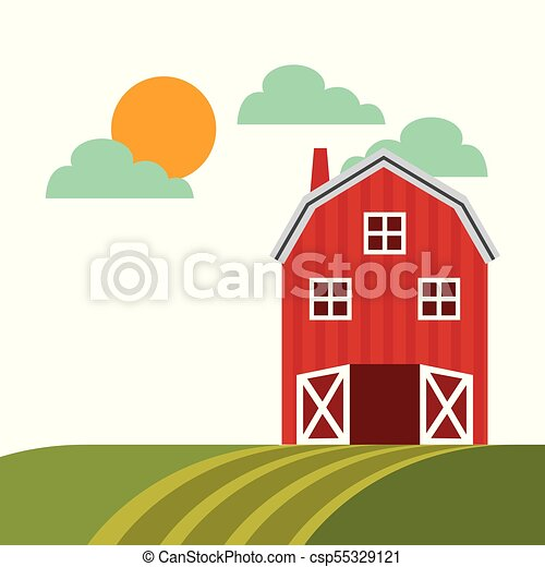 Farm Barn Design Icon Colorful Vector Illustration