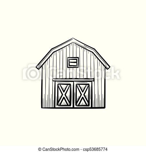 Farm Barn Hand Drawn Sketch Icon