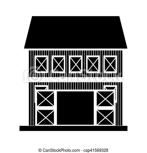 Silhouette Of Farm Barn House Icon Over White Background Vector
