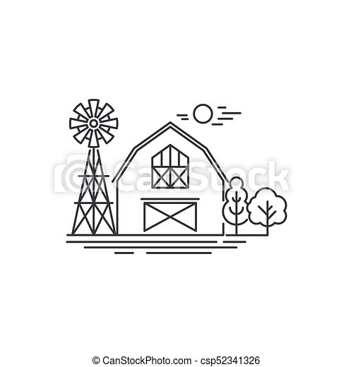 Farm Barn Line Icon Outline Illustration Of Horse Vector Linear Design Isolated On White