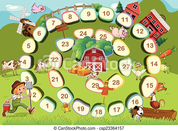 farm board game zoo themed board game with numbers rh canstockphoto com board game night clipart sorry board game clipart