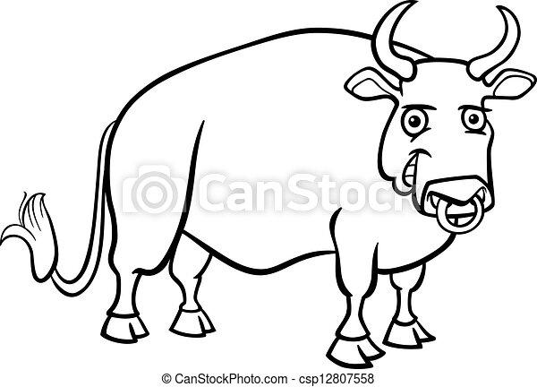 farm bull cartoon for coloring book - csp12807558