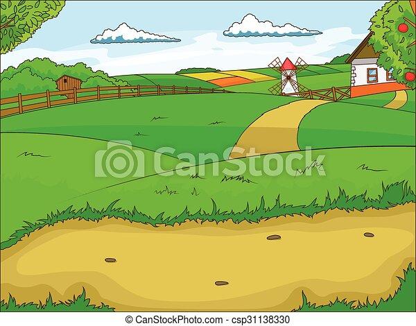 Farm cartoon educational illustration - csp31138330