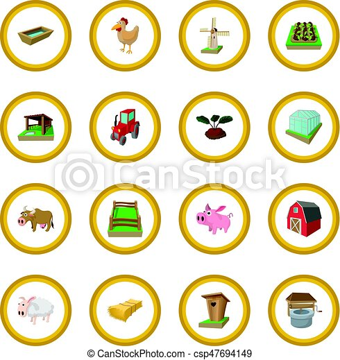 Farm cartoon icon circle - csp47694149