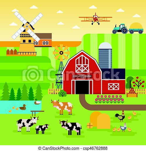 Farm flat vector landscape. Organic food concept for any design. Farm landscape illustration, banner, background with cows, chickens, garden and fields infographic elements, flat design - csp46762888