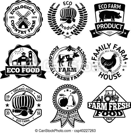 Farm Food Vector Labels Set With Mill Vegetables Pig House Cow