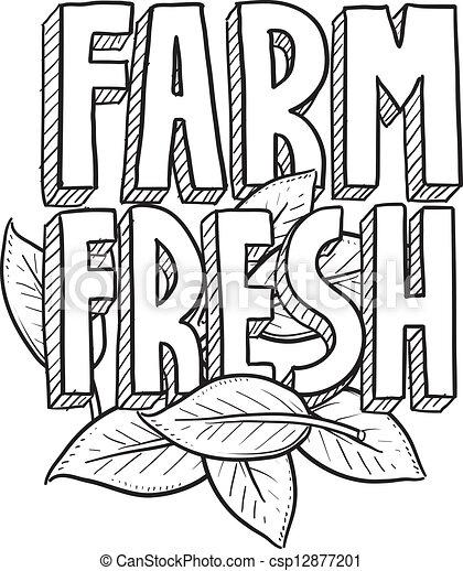 Farm fresh food sketch - csp12877201