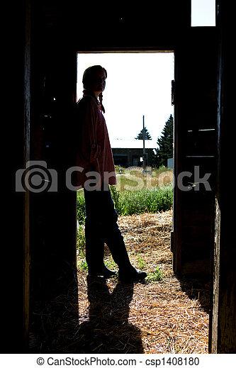 Farm Girl Silhouette - csp1408180