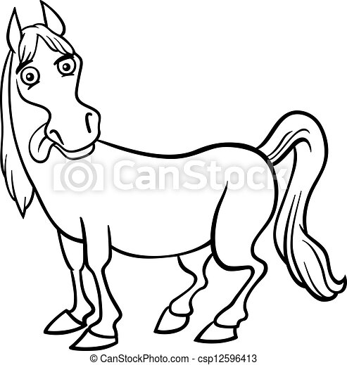Farm horse cartoon for coloring book. Black and white... vector clip ...