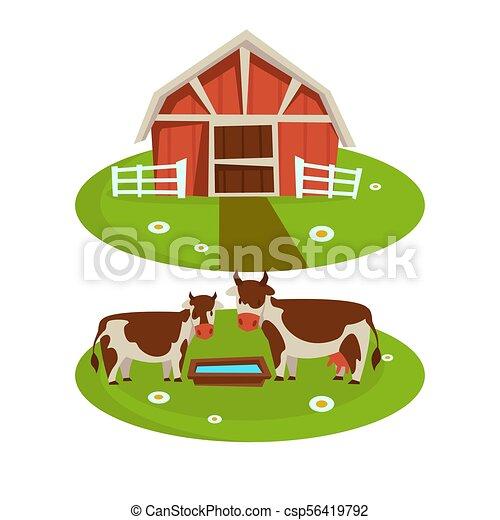 Farm house barn or farmer agriculture and cattle farming flat cartoon icons csp56419792