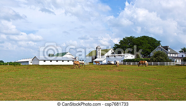 farm house with field and silo - csp7681733