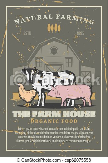 Farm house with livestock animals