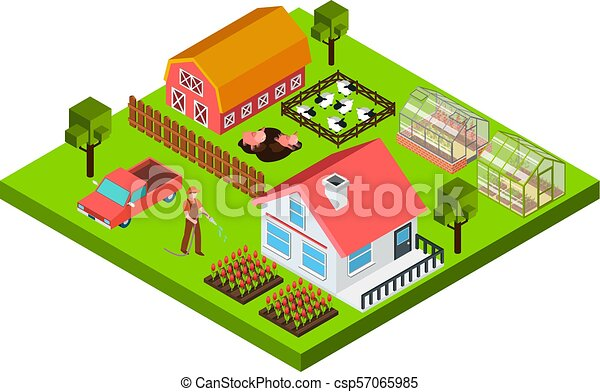 Farm Isometric Concept - csp57065985