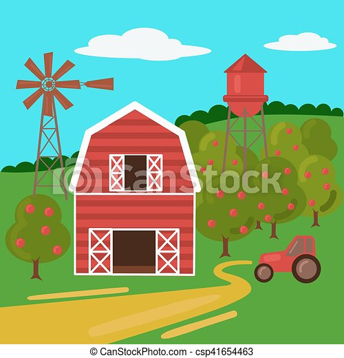 Farm landscape with barn tractor and windmill - csp41654463