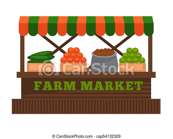 Farm market fruit or vegetable vendor booth stall vector flat design isolated icon - csp54132329