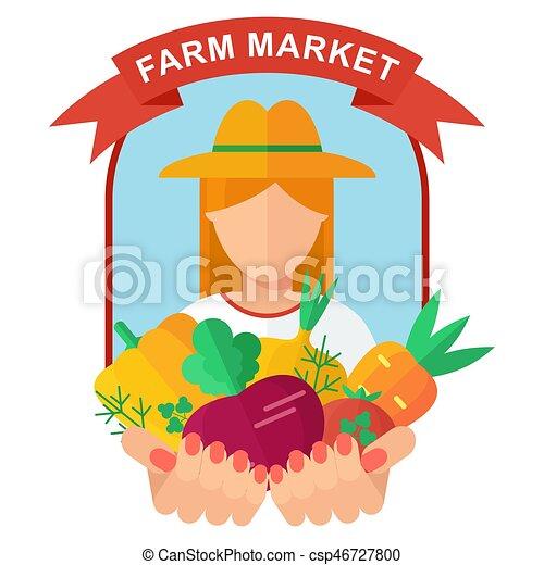 farm market logo woman farmer holding rich harvest in vector rh canstockphoto com farmers market sign clipart farmers market clipart black and white