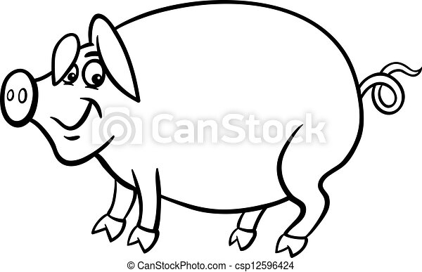 Farm pig cartoon for coloring book. Black and white cartoon ...