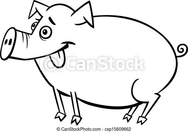 farm pig cartoon for coloring black and white cartoon clip art rh canstockphoto com