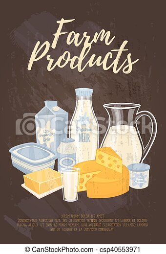 Farm products banner with dairy composition - csp40553971